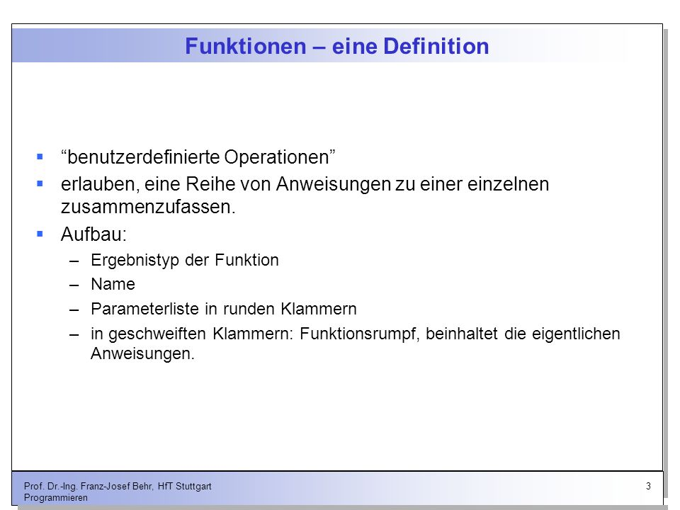 Funktionen – eine Definition