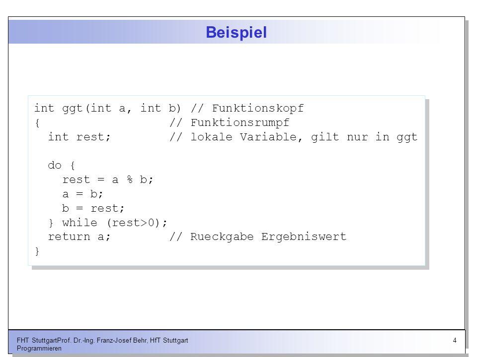 Beispiel int ggt(int a, int b) // Funktionskopf { // Funktionsrumpf