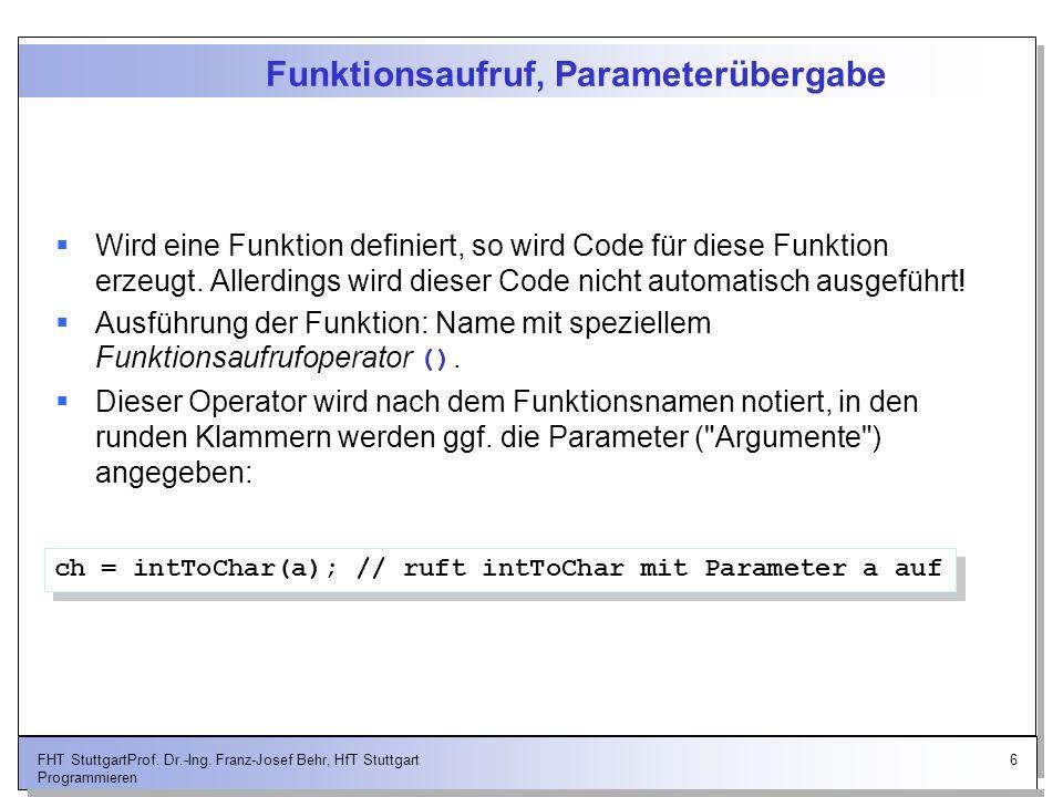 Funktionsaufruf, Parameterübergabe
