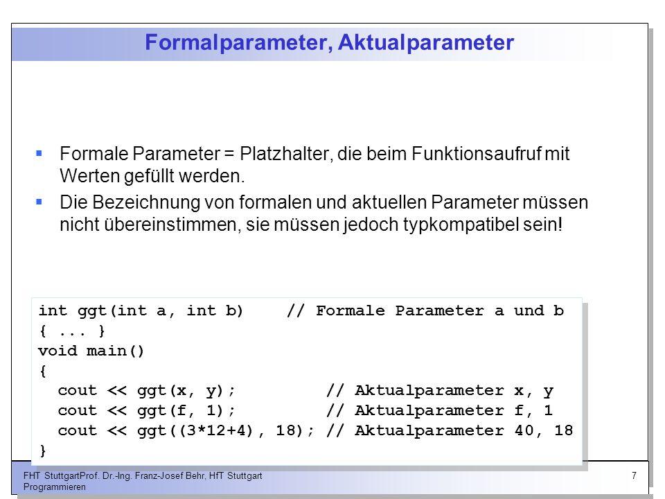 Formalparameter, Aktualparameter