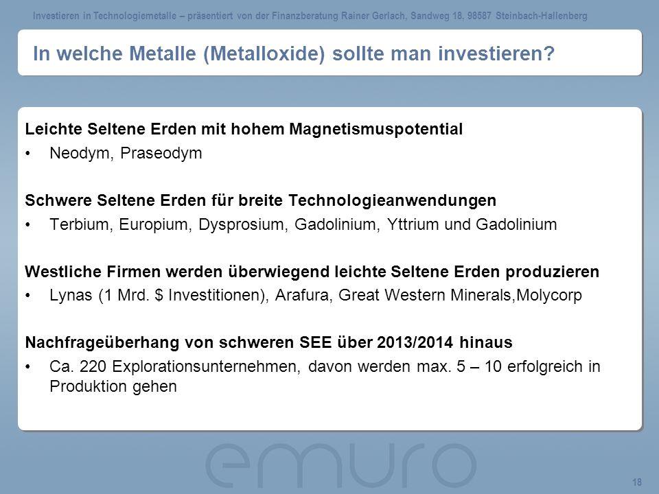 In welche Metalle (Metalloxide) sollte man investieren