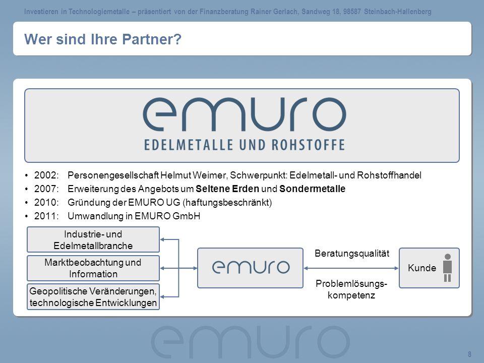 Wer sind Ihre Partner 2002: Personengesellschaft Helmut Weimer, Schwerpunkt: Edelmetall- und Rohstoffhandel.
