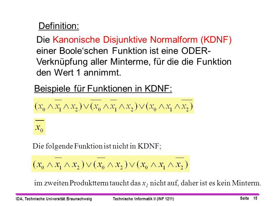 Beispiele für Funktionen in KDNF: