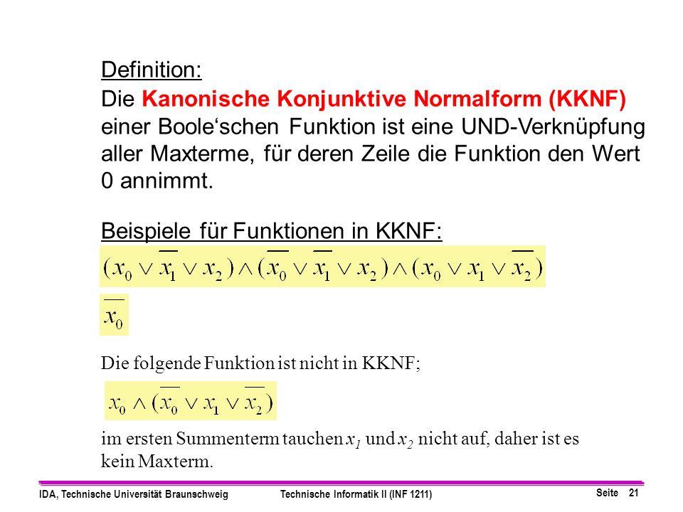 Beispiele für Funktionen in KKNF: