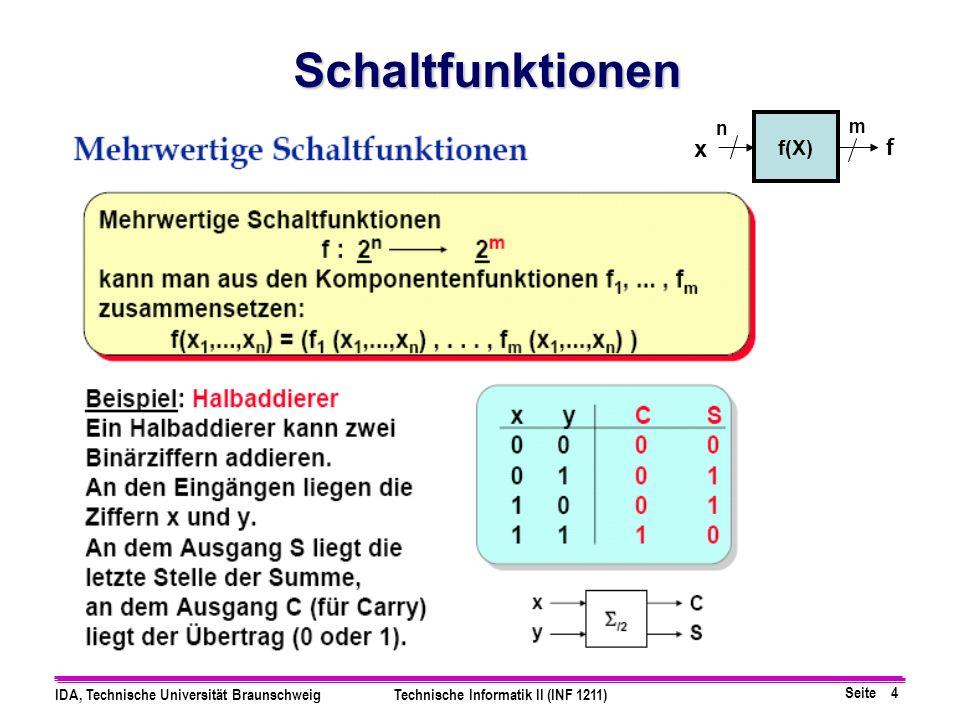 Schaltfunktionen n f(X) m x f