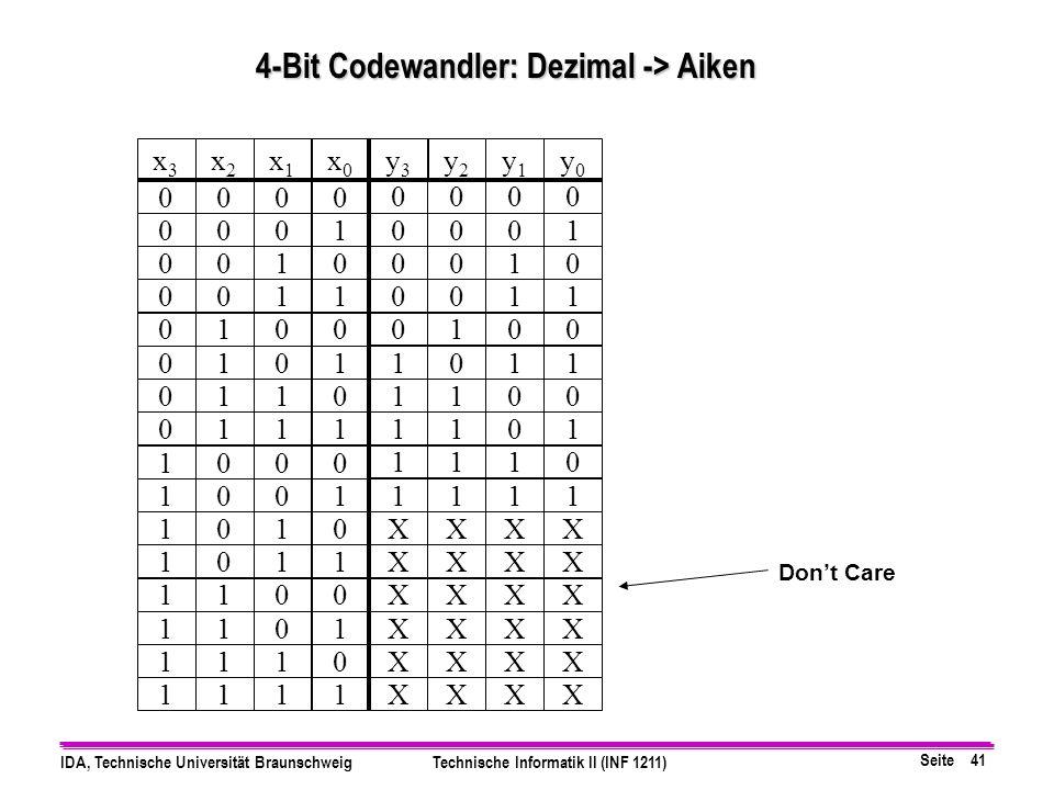 4-Bit Codewandler: Dezimal -> Aiken