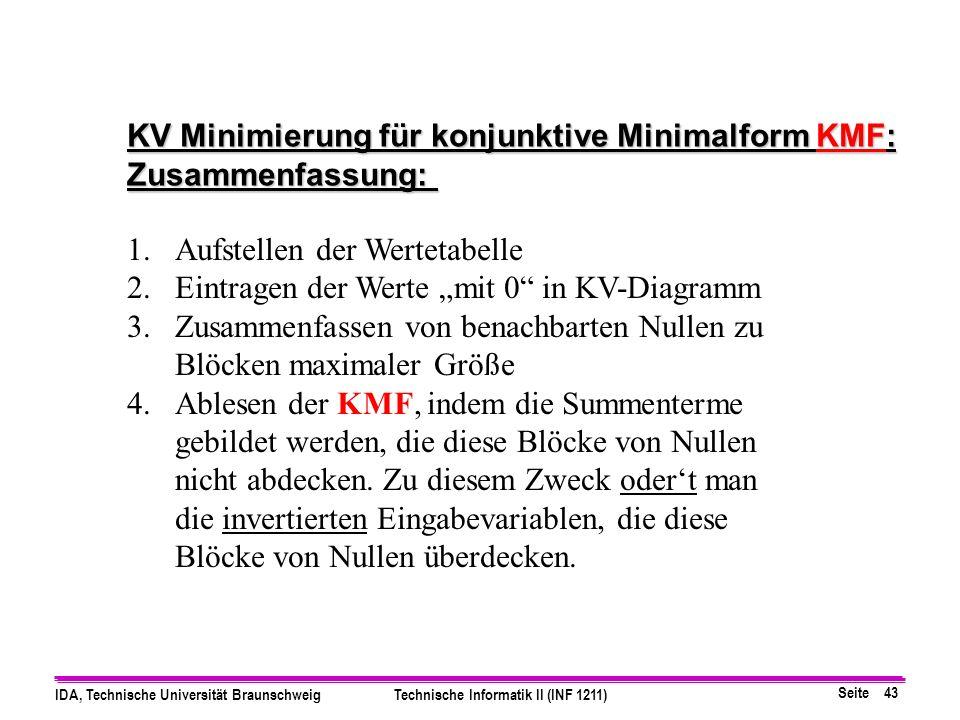 KV Minimierung für konjunktive Minimalform KMF: