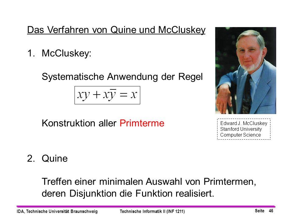Das Verfahren von Quine und McCluskey McCluskey: