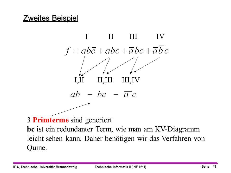 Zweites Beispiel I II III IV. I,II II,III III,IV. 3 Primterme sind generiert.