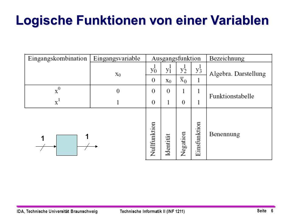 Logische Funktionen von einer Variablen
