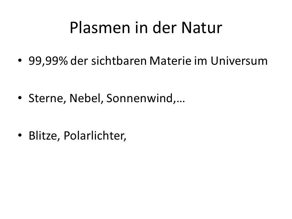 Plasmen in der Natur 99,99% der sichtbaren Materie im Universum