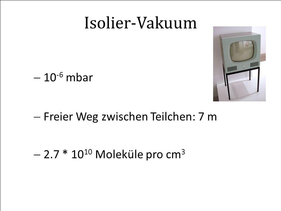 Isolier-Vakuum 10-6 mbar Freier Weg zwischen Teilchen: 7 m