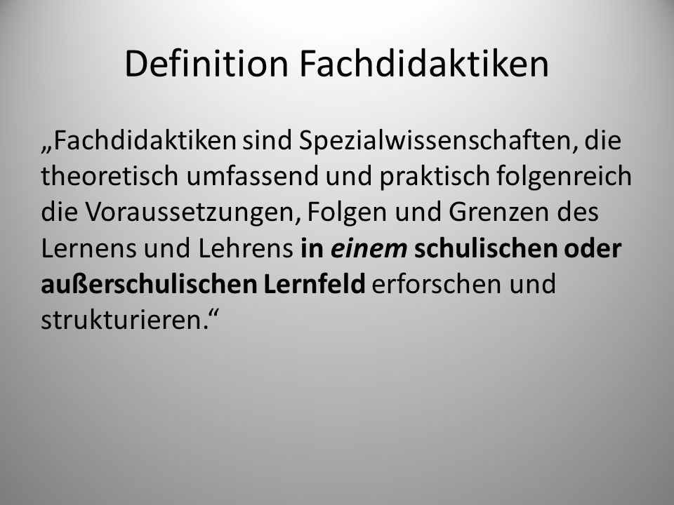 Definition Fachdidaktiken