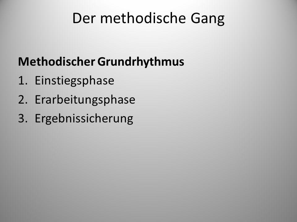 Der methodische Gang Methodischer Grundrhythmus Einstiegsphase