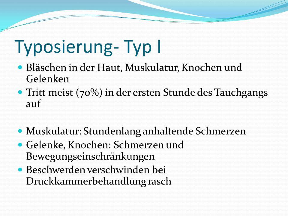 Typosierung- Typ I Bläschen in der Haut, Muskulatur, Knochen und Gelenken. Tritt meist (70%) in der ersten Stunde des Tauchgangs auf.