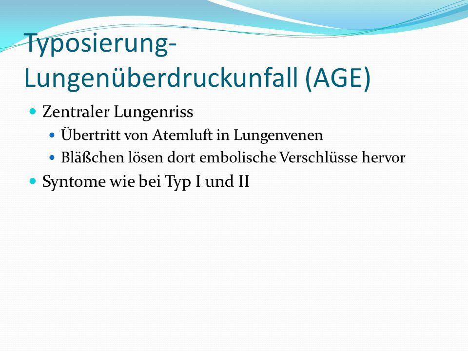 Typosierung- Lungenüberdruckunfall (AGE)