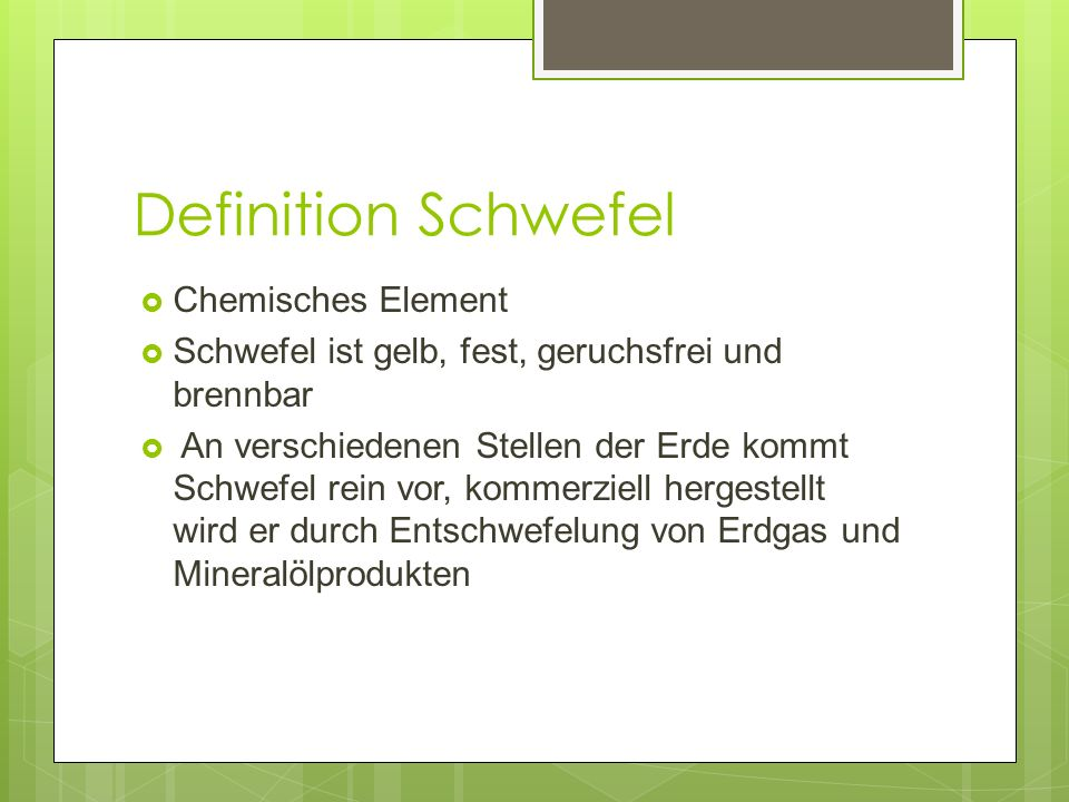 Definition Schwefel Chemisches Element