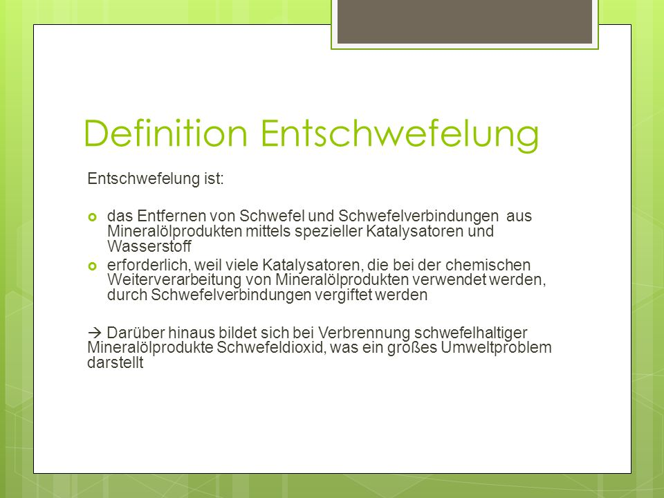 Definition Entschwefelung