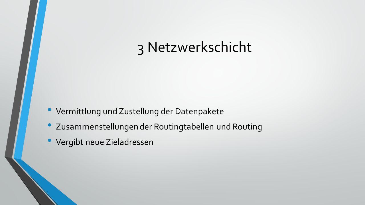 3 Netzwerkschicht Vermittlung und Zustellung der Datenpakete