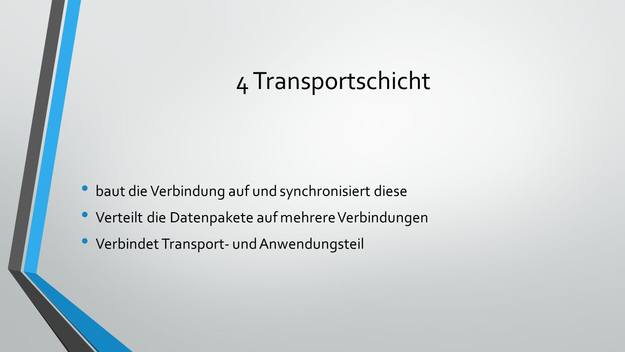 4 Transportschicht baut die Verbindung auf und synchronisiert diese