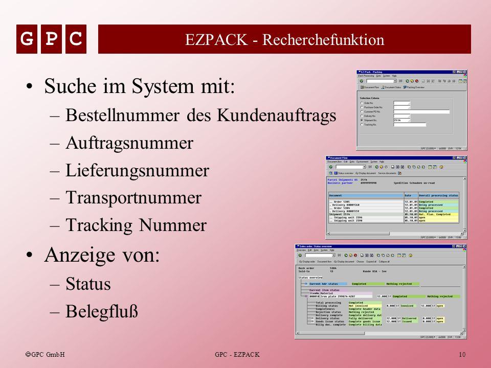 EZPACK - Recherchefunktion