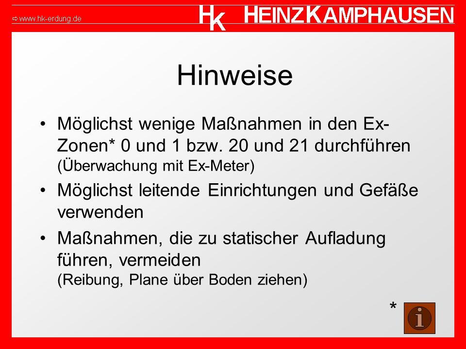 Hinweise Möglichst wenige Maßnahmen in den Ex-Zonen* 0 und 1 bzw. 20 und 21 durchführen (Überwachung mit Ex-Meter)