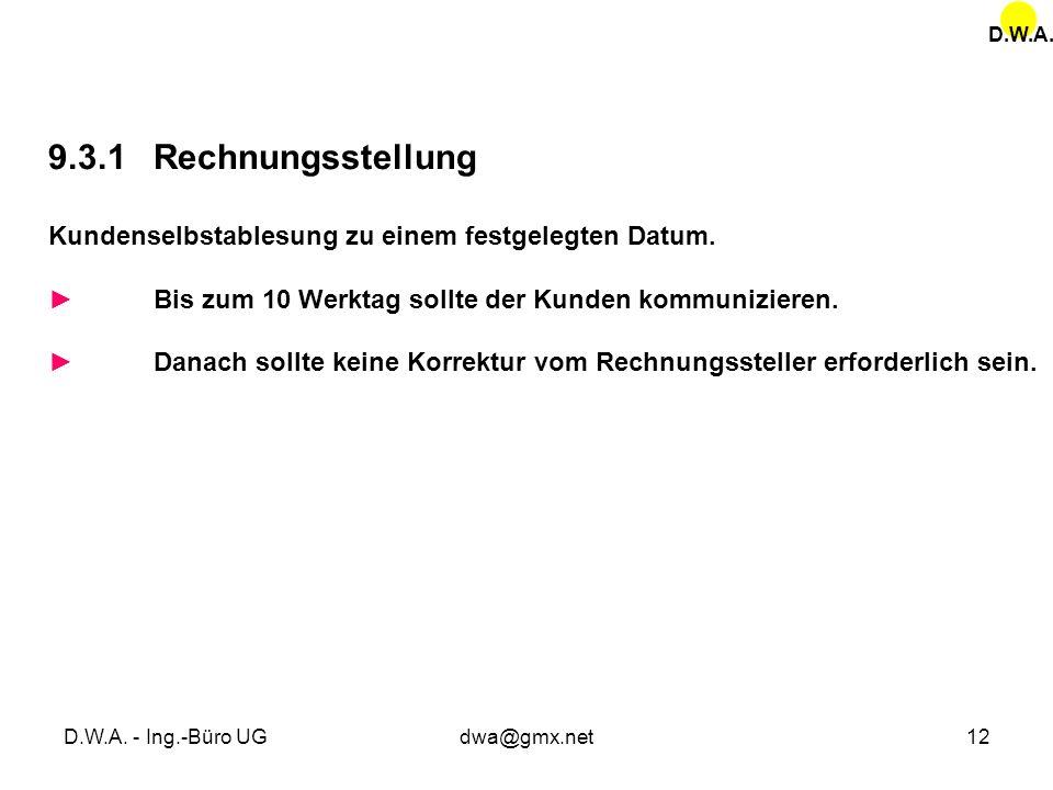 D.W.A. 9.3.1 Rechnungsstellung. Kundenselbstablesung zu einem festgelegten Datum. ► Bis zum 10 Werktag sollte der Kunden kommunizieren.