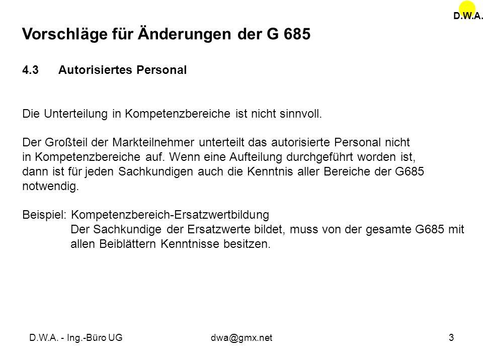Vorschläge für Änderungen der G 685