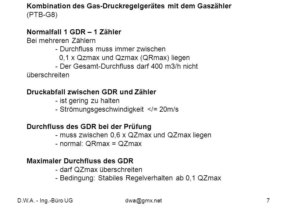 Kombination des Gas-Druckregelgerätes mit dem Gaszähler (PTB-G8)