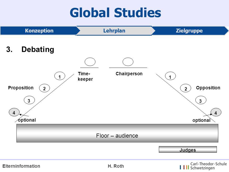 Global Studies 3. Debating Floor – audience Konzeption Lehrplan