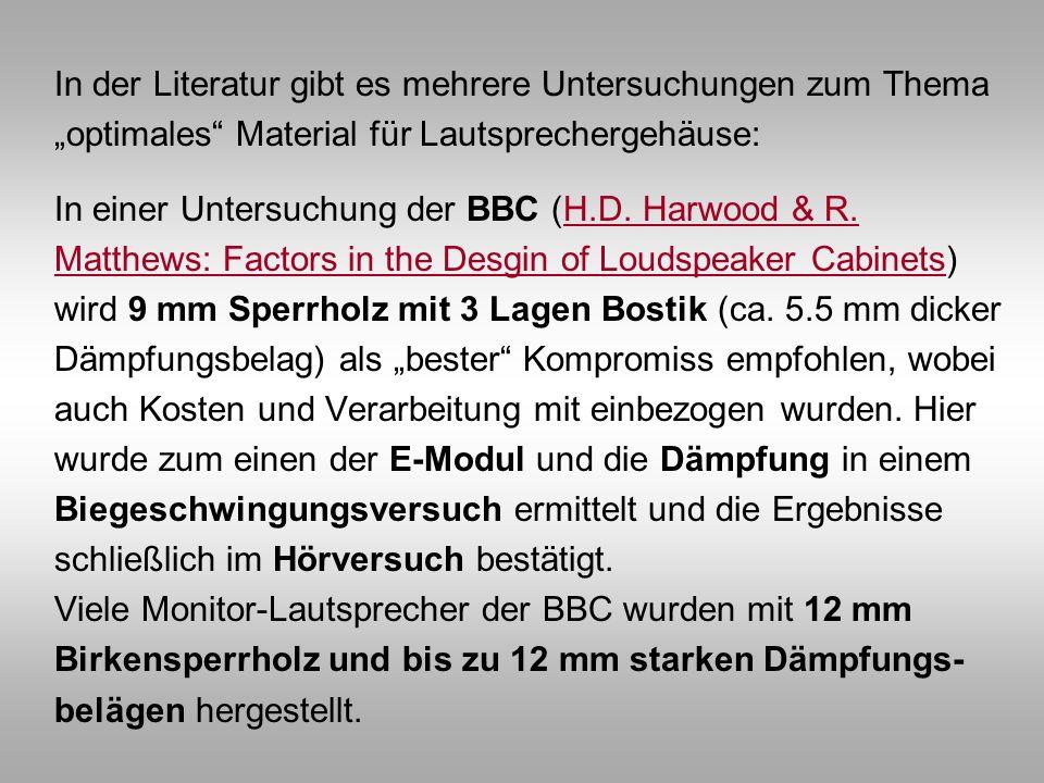"""In der Literatur gibt es mehrere Untersuchungen zum Thema """"optimales Material für Lautsprechergehäuse: In einer Untersuchung der BBC (H.D."""