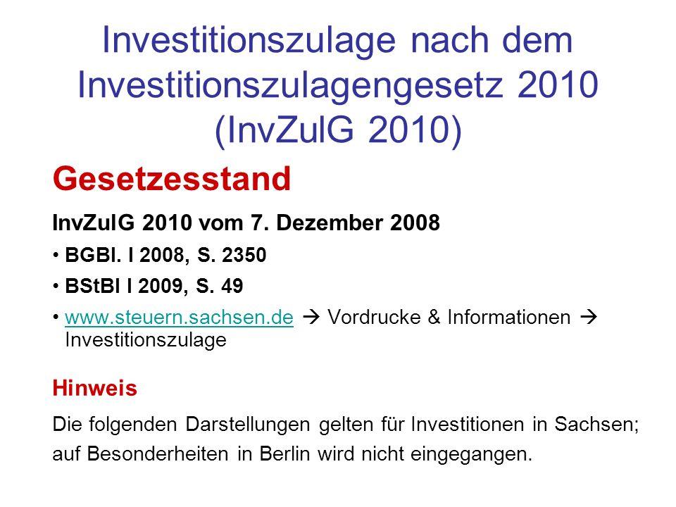 Investitionszulage nach dem Investitionszulagengesetz 2010 (InvZulG 2010)