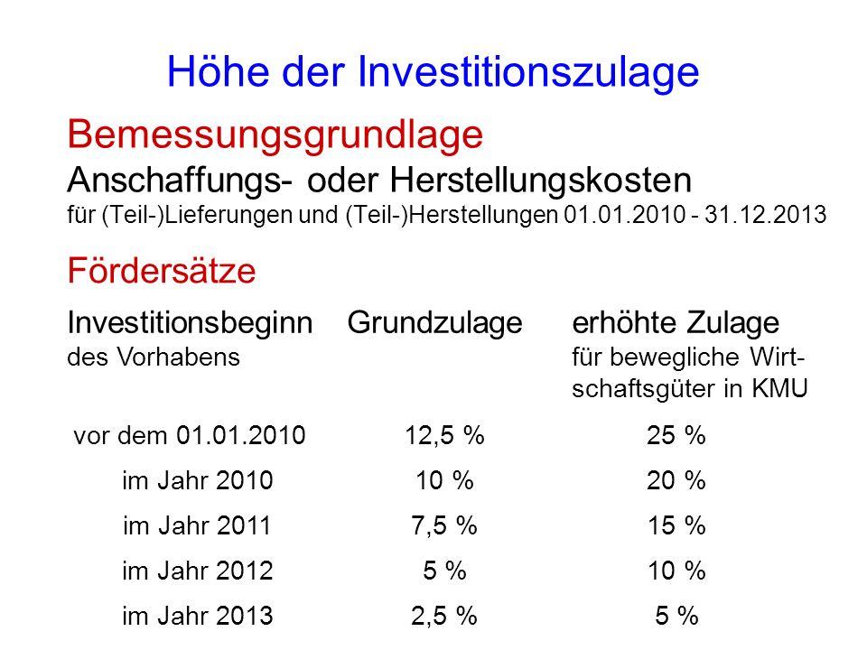 Höhe der Investitionszulage
