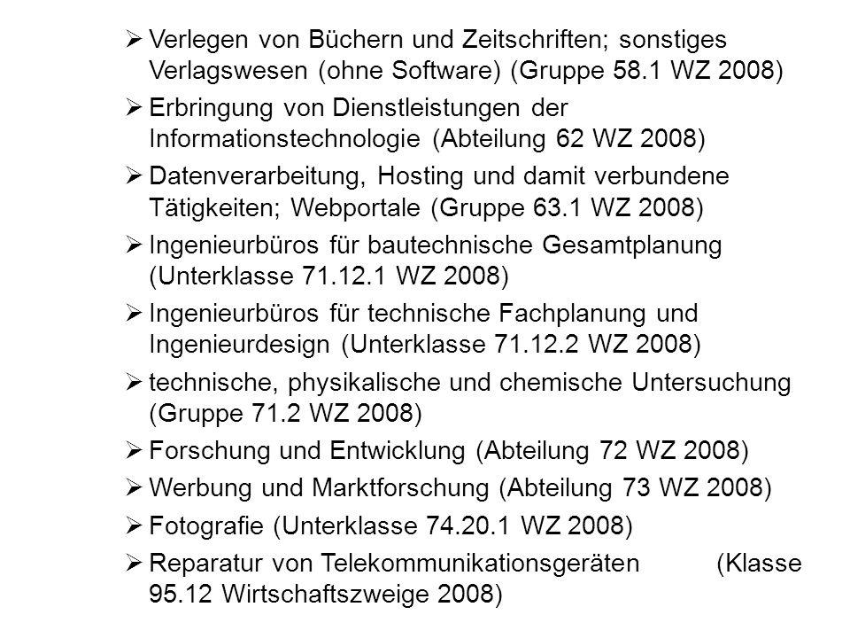 Verlegen von Büchern und Zeitschriften; sonstiges Verlagswesen (ohne Software) (Gruppe 58.1 WZ 2008)