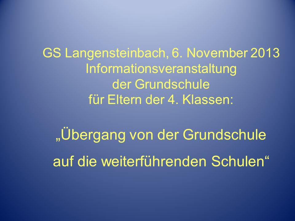 GS Langensteinbach, 6. November 2013 Informationsveranstaltung der Grundschule für Eltern der 4.