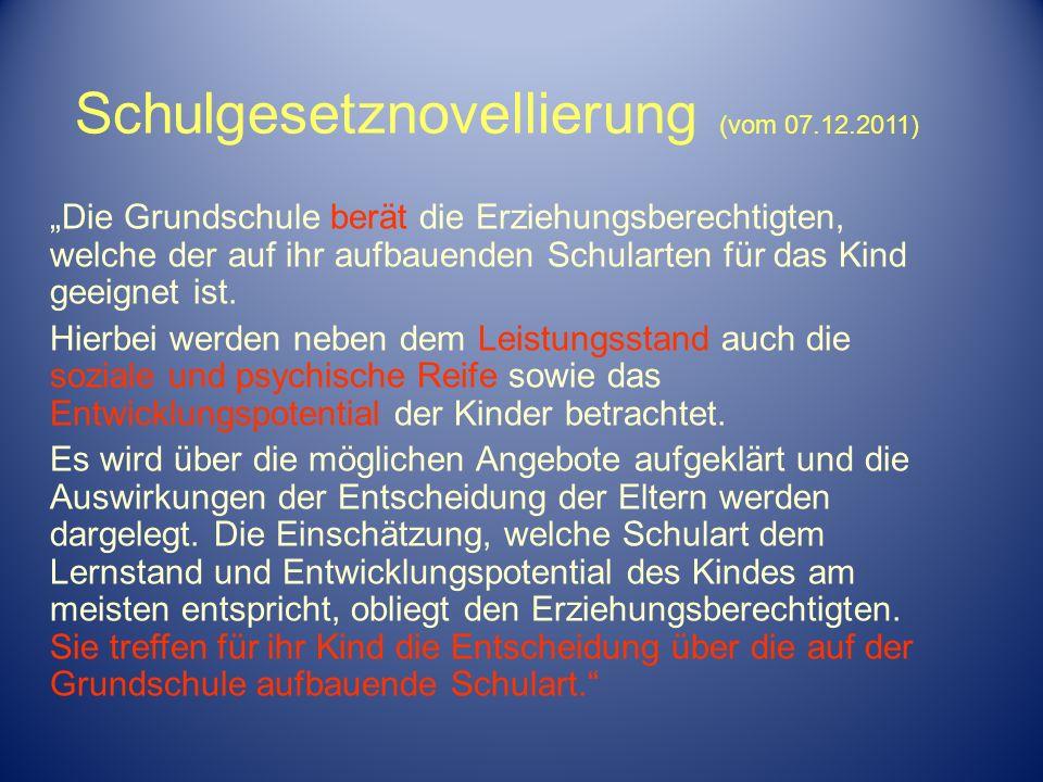 Schulgesetznovellierung (vom 07.12.2011)