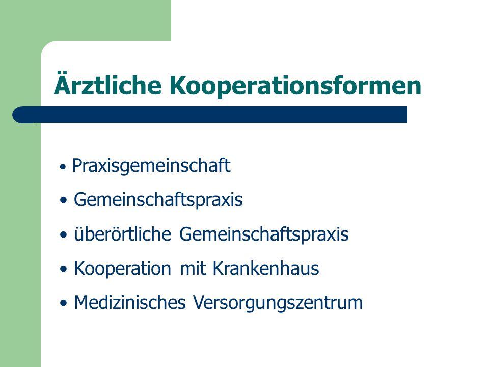 Ärztliche Kooperationsformen