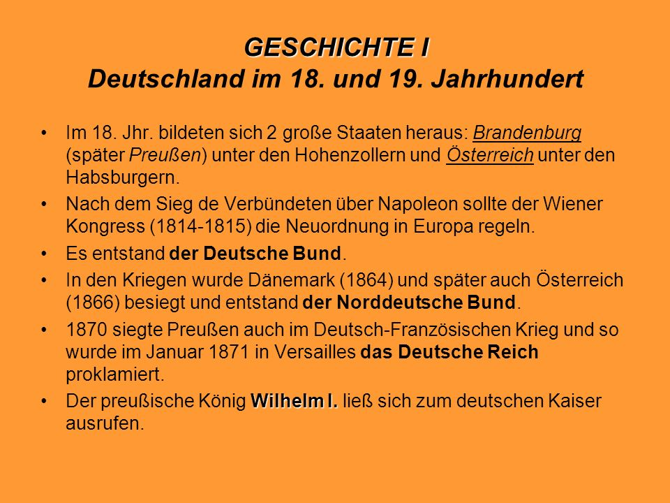 GESCHICHTE I Deutschland im 18. und 19. Jahrhundert