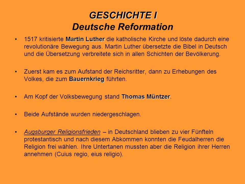 GESCHICHTE I Deutsche Reformation