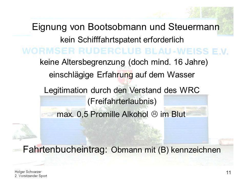 Eignung von Bootsobmann und Steuermann