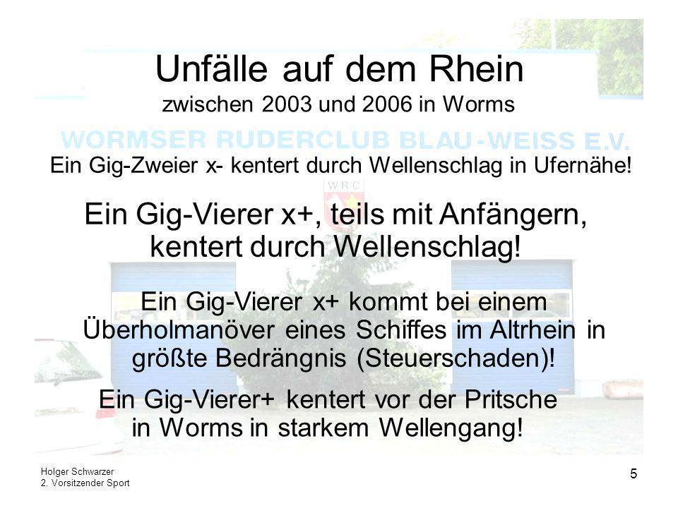 Unfälle auf dem Rhein zwischen 2003 und 2006 in Worms