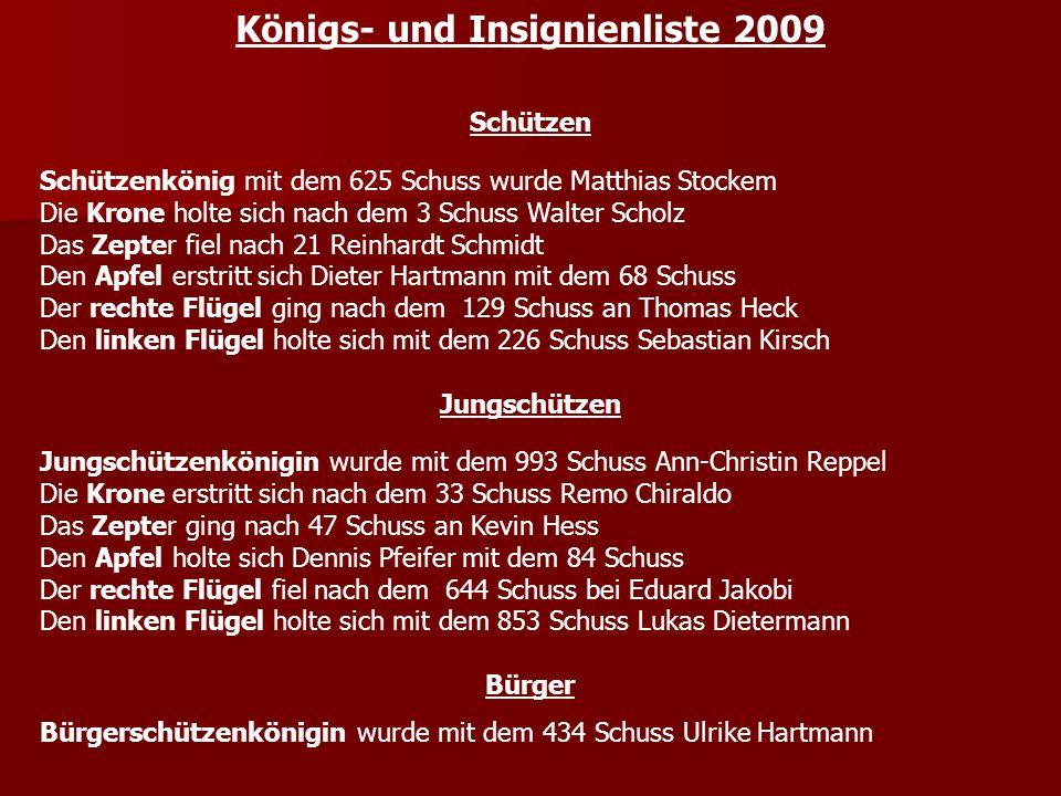 Königs- und Insignienliste 2009