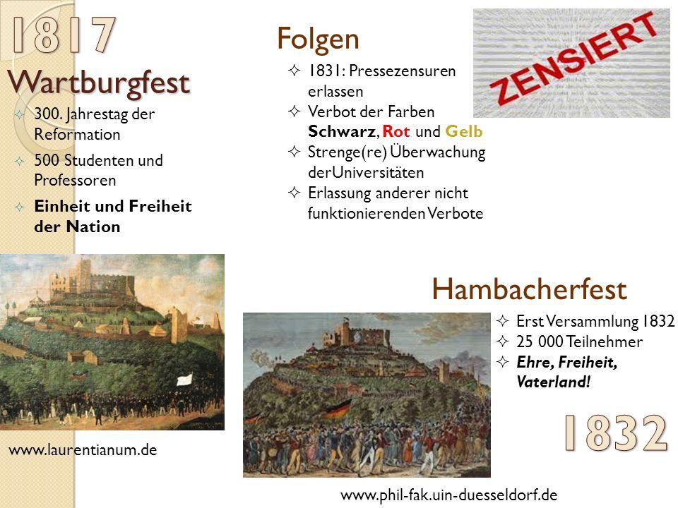 1817 1832 Wartburgfest Folgen Hambacherfest