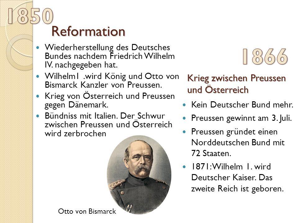 1850 1866 Reformation Krieg zwischen Preussen und Österreich