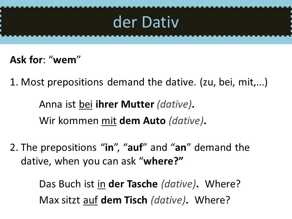 der Dativ Ask for: wem