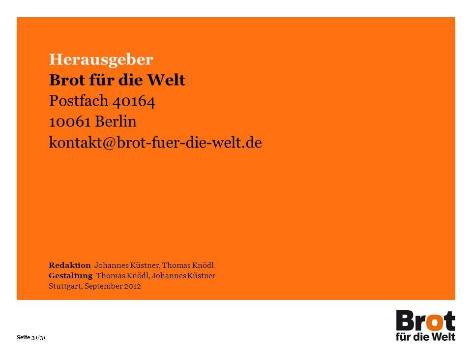 Herausgeber Brot für die Welt Postfach 40164 10061 Berlin
