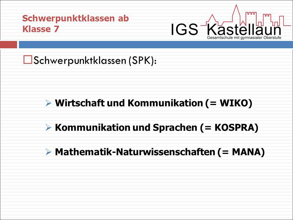 Schwerpunktklassen (SPK):