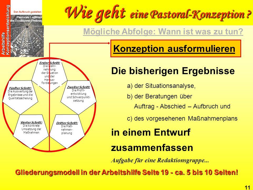 Gliederungsmodell in der Arbeitshilfe Seite 19 - ca. 5 bis 10 Seiten!