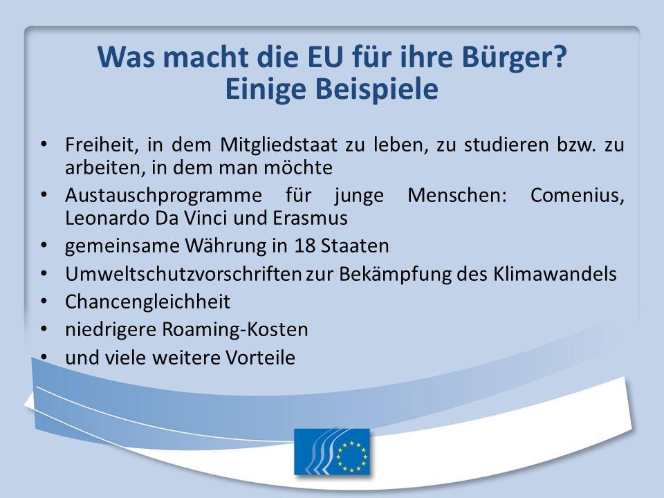 Was macht die EU für ihre Bürger Einige Beispiele
