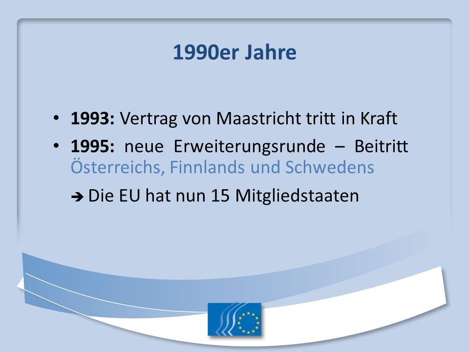 1990er Jahre 1993: Vertrag von Maastricht tritt in Kraft
